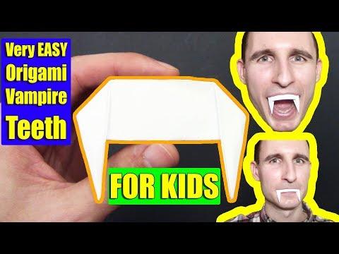Very EASY Origami Halloween Vampire Teeth FOR KIDS - Yakomoga Easy Origami tutorial
