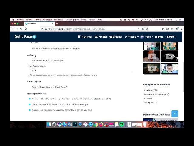 Comment gérer les paramètres de profil sur Delit Face ?