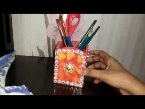 How to design wooden pen holder in hindi
