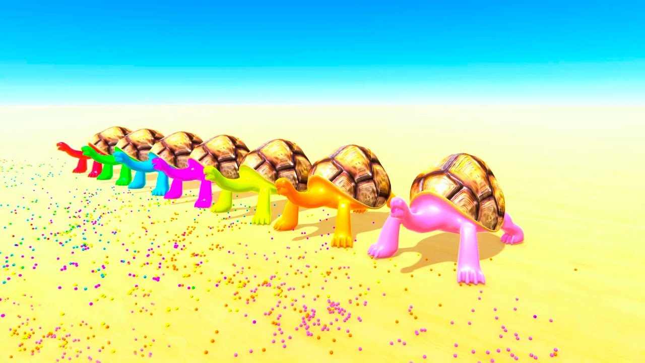 COLOR TURTLES Eat balls and learn colors for baby 3D animation