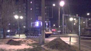 Танки и бронетехника, военный конвой под флагами США  Нарва  Эстония  23 02 2015