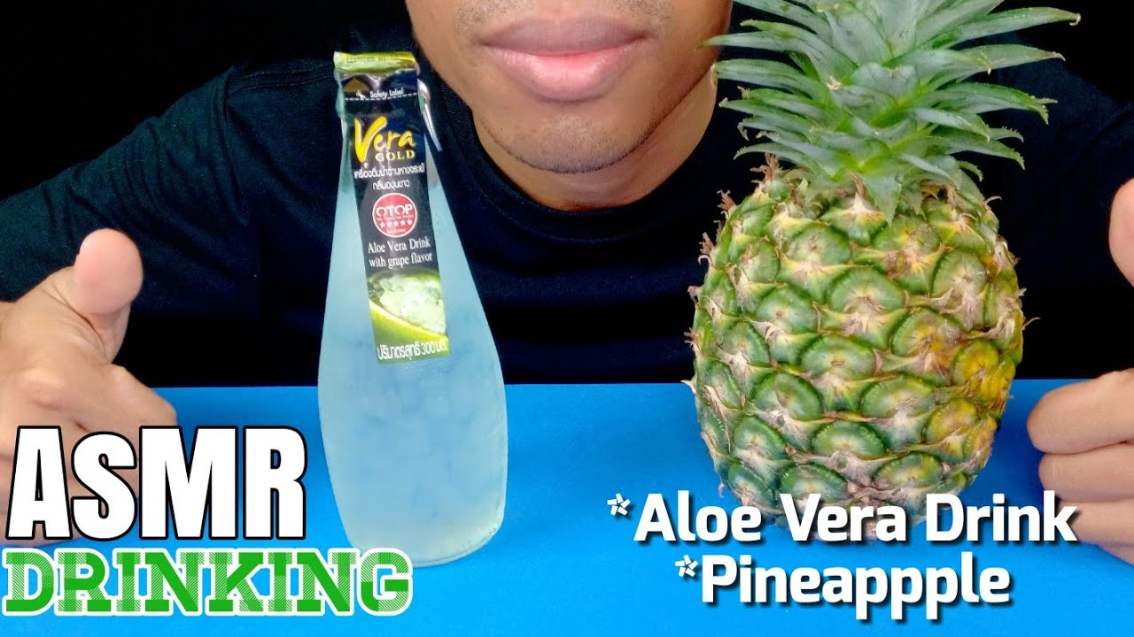 ASMR Drinking Aloe Vera Drink with Grape Flavor and Eating Pineapple | EP.58 I BoonTube