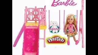 Barbie Sisters Chelsea Swing Set Play Doh Playdate With Frozen Queen Elsa Princess Anna Disney