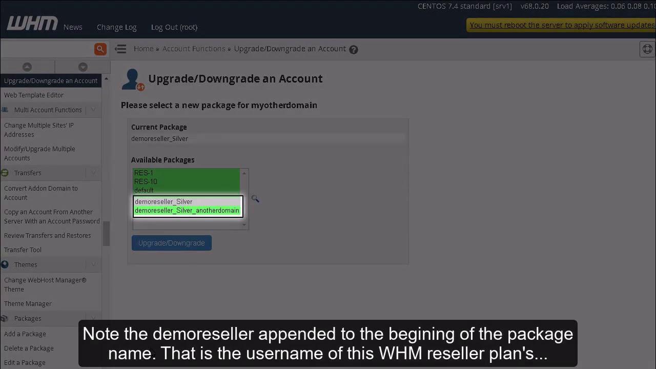 WHM-də hesabı necə upgrade/downgrade etmək olar?