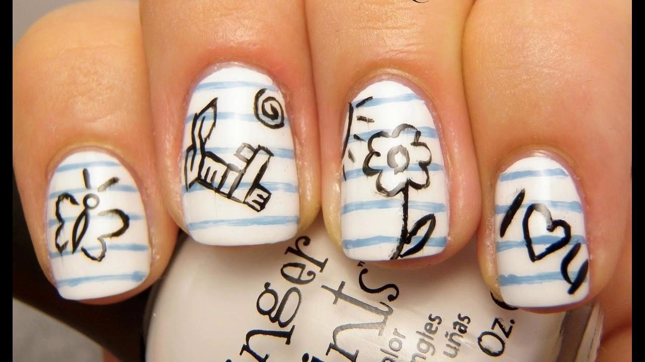 Diseño en blanco y negro de las uñas decoradas sencillas y elegantes ...