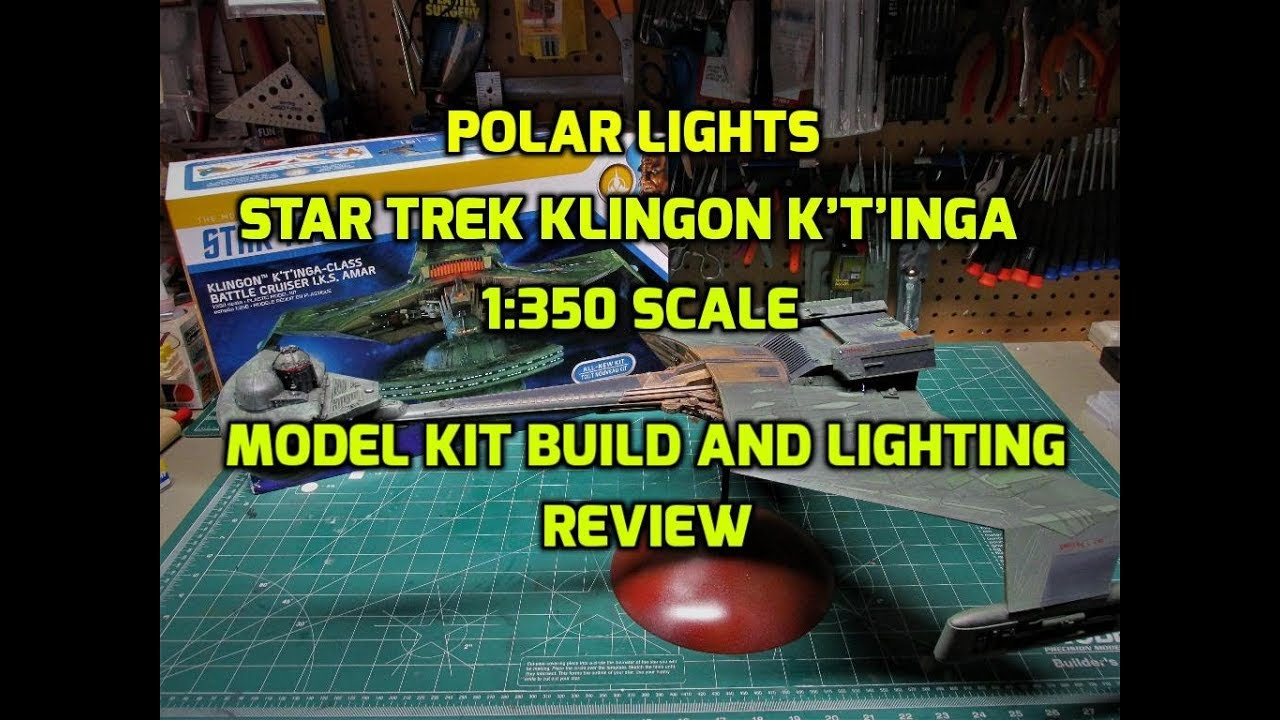 Polar Lights Star Trek Klingon K't'inga 1/350 Scale Model Kit Build and Lighting Review POL950