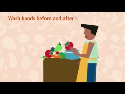 Wash hands before and after handling raw food