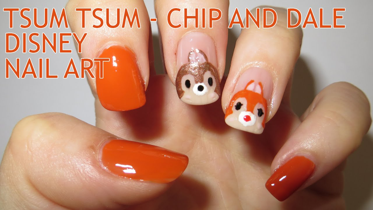 Tsum Tsum - Chip and Dale Nail Art (Disney Collab) - YouTube