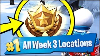 *ALL* Fortnite WEEK 3 CHALLENGE LOCATIONS | SEARCH BETWEEN THREE SKI LODGES (Season 7 Week 3)