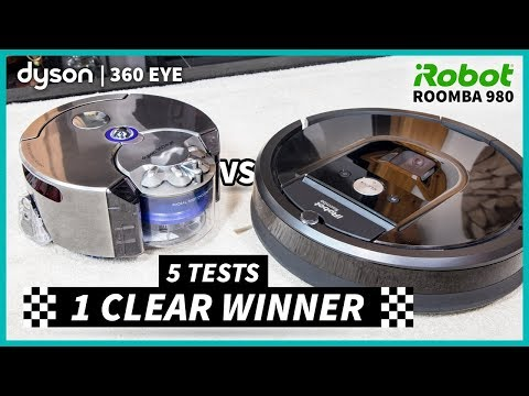 Roomba 980 vs Dyson 360 Eye - 5 Tests, One CLEAR Winner - #Ad Warren Nash: Let's find out once and for all. In a 5 test head-to-head battle with the Roomba 980 vs Dyson 360 Eye, see which wins hands down with more efficient cleaning in a variety of challenging conditions. Thanks iRobot & Dyson for featuring in this video.  In this review, we see how the 360 Eye cleans in a spiral fashion with a classic rotary brush to suck up dirt. In comparison, the Roomba 980 cleans in rows with rubber extractor heads - which are becoming more common within the iRobot vacuum cleaner range. But which works best?  Read my review of the Roomba 980 vs Dyson 360 Eye test on my website: https://www.warrennash.co.uk/blog/roomba980vsdyson360eye  Become a Patron of my channel: https://www.patreon.com/warrennash  Remember to subscribe to my Tastemade channel for more product reviews, DIY projects, easy recipes, vlogs and collaborations from my home in the UK: http://www.youtube.com/subscription_center?add_user=fitbritsgb