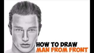How to Draw a Face Realistic from Front Handsome Man Easy Step by Step Drawing