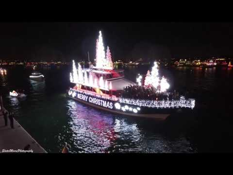 Aerial Footage Of Newport Beach Boat Parade At Christmas