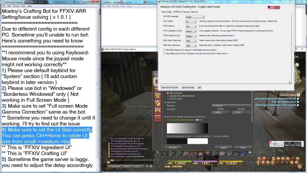 Moetoy's Crafting Bot for FFXIV:ARR Setup/Issue solving ( version 1 0 1 )