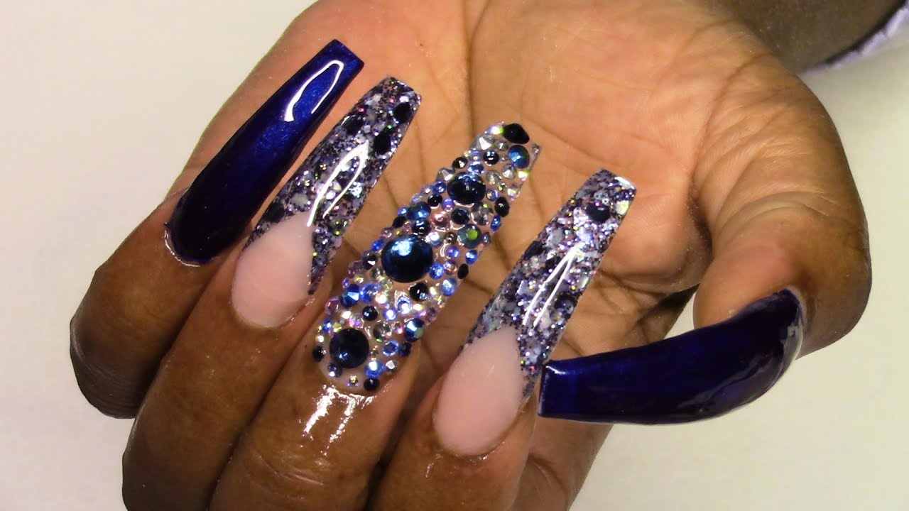 Navy Blue Nails Ballerina Shape | Acrylic Nails Tutorial ...