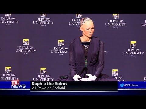 2018 - World-Famous Robot Sophia at DePauw University in Indiana