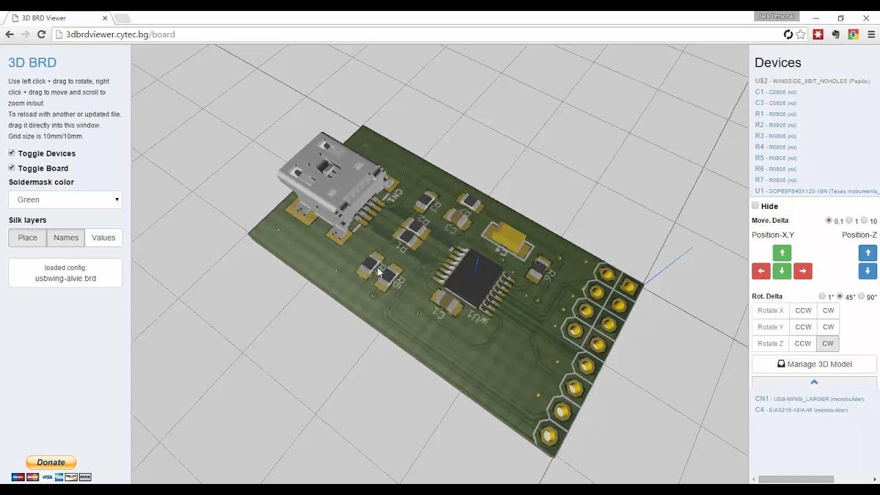 Super Easy to use 3D Viewer for EAGLE PCB Board files