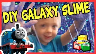 DIY Galaxy Slime, Thomas and friends, Messy Sticky Slimey Corbins Playtime