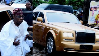 SEE THE NEW GOLD ROLLS ROYCE OLUSEGUN OBASANJO BROUGHT TO 85TH BIRTHDAY GABRIEL IGBINEDION
