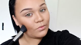 How I Contour and Highlight My Round Face | FULL Coverage | Makeupwithjah