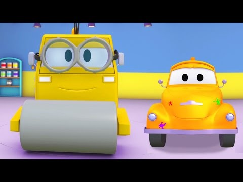 Tom the Tow Truck 's Paint Shop: Steve the Steamroller is a Minions ! | Truck cartoons for kids