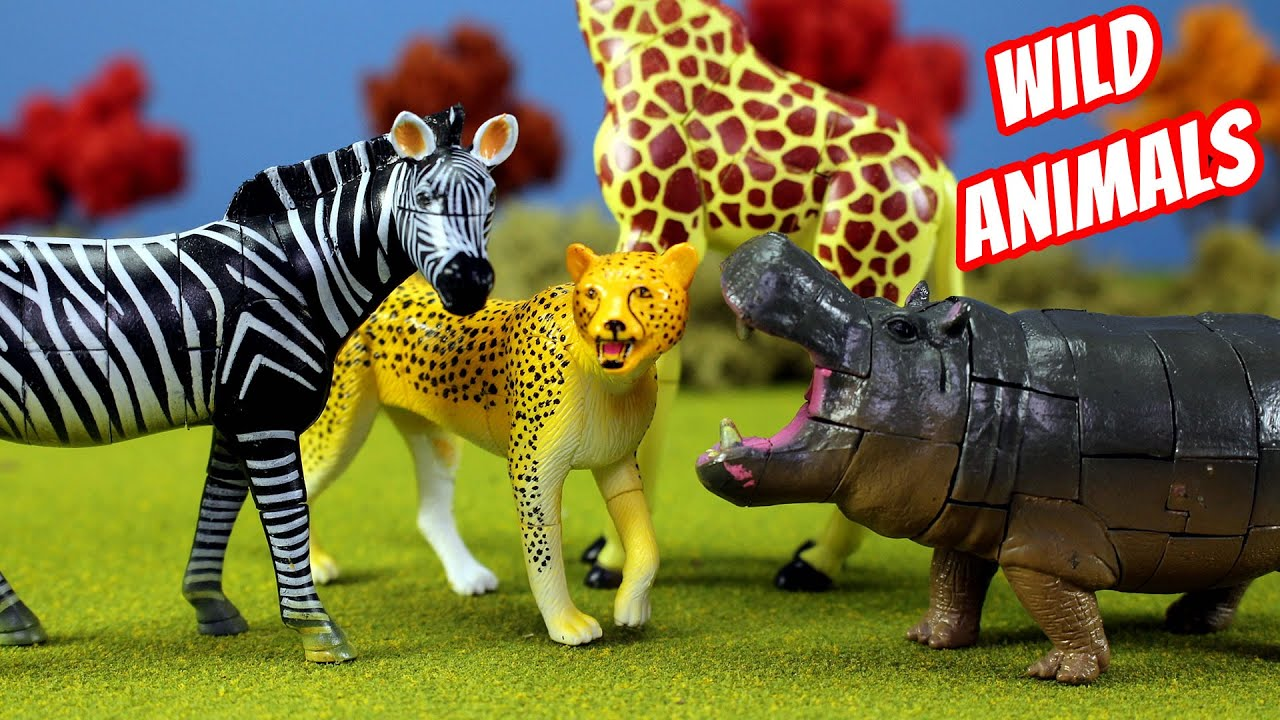Download Toy Wild Animals 3D Puzzles Collection Zebra Hippo Giraffe Cheetah │ Zoo Animals Fun Facts For Kids