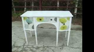 Vintage Painted Shabby Chic Sideboard Decoupage Sanderson Dandelion