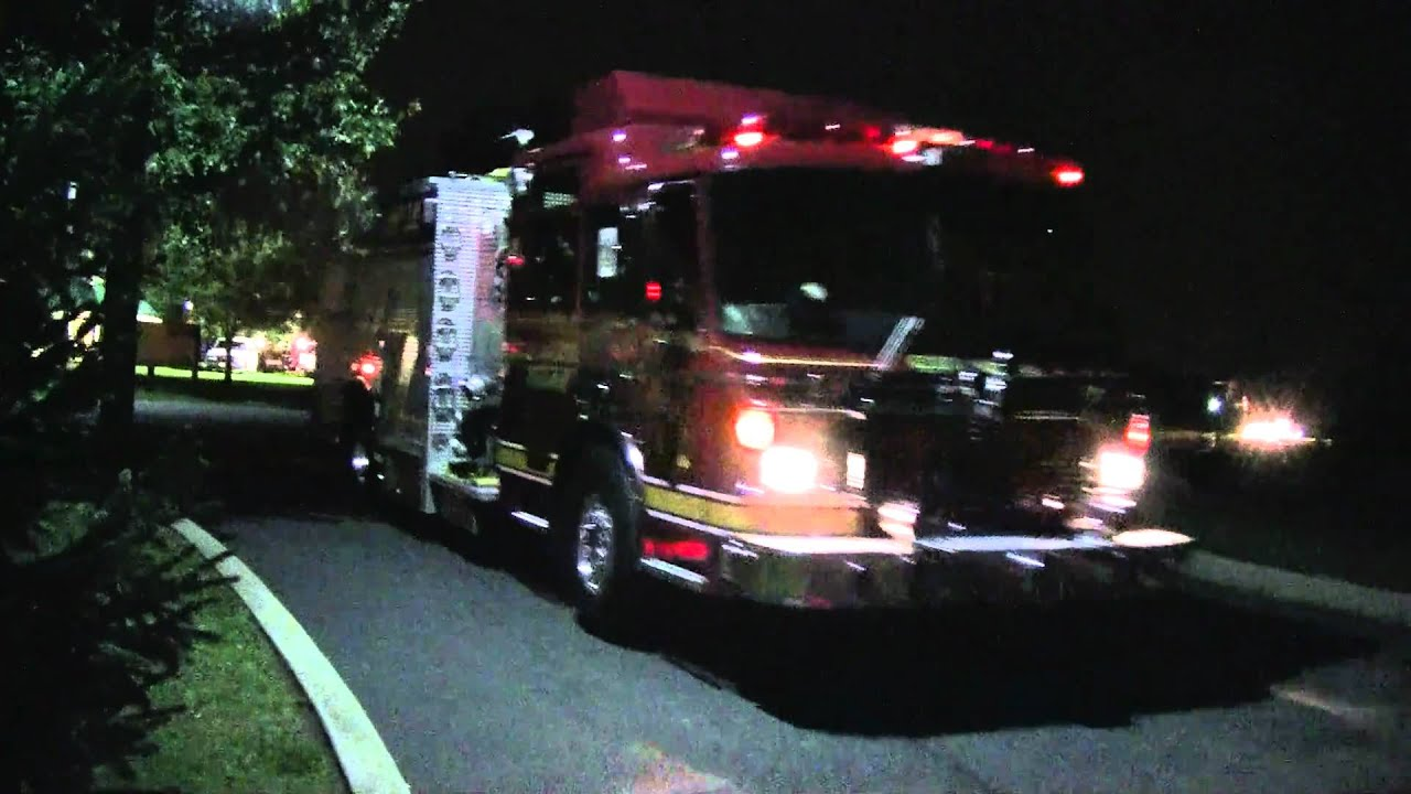 Wonderful Fire Trucks Running Lights U0026 Sirens At Night