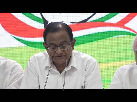 AICC Press briefing by P Chidambaram at Congress HQ