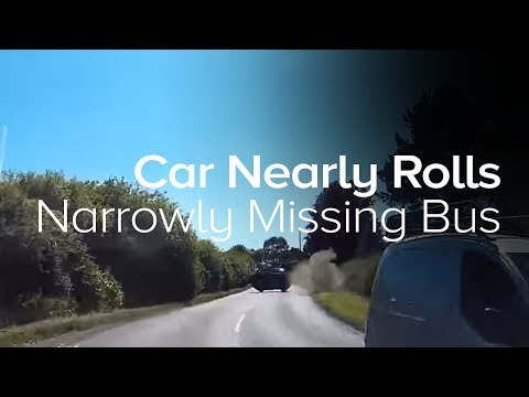 Car nearly rolls after narrowly avoiding a bus - Island Echo