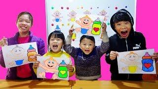 Hunter Kids Go To School Learn Colors milk Vs Baby    Classroom Funny Nursery Rhymes