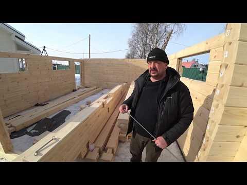 Этапы строительства гаража из клееного бруса. Первые два дня.