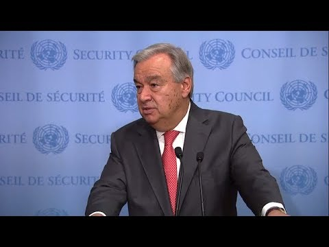 António Guterres (UN Secretary-General) on Countries Affected by Recent Hurricanes - Media Stakeout