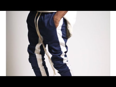 KDNK Striped Track Pants Ankled Zippers (Cobalt/White Stripes)(Chance to Win for $2)(Need 19 Players