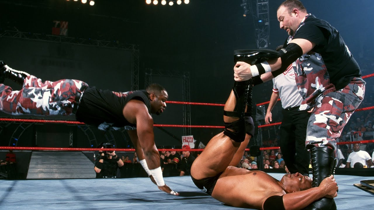 The Rock vs. The Dudley Boyz – WCW Championship Handicap Tables Match: Raw, Oct. 1, 2001
