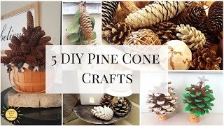 5 DIY PINE CONE CRAFTS | FAUX BLEACHED | WINTER DECOR IDEAS | CINNAMON SCENTED | EASY KID DIY