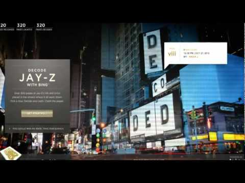 Decoded - Advertising campaign of Jay-Z's book with Bing Maps