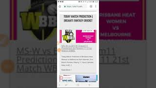 MS-W VS BH-W Dream11 Fantasy Cricket 21st Match (Today Match Prediction)