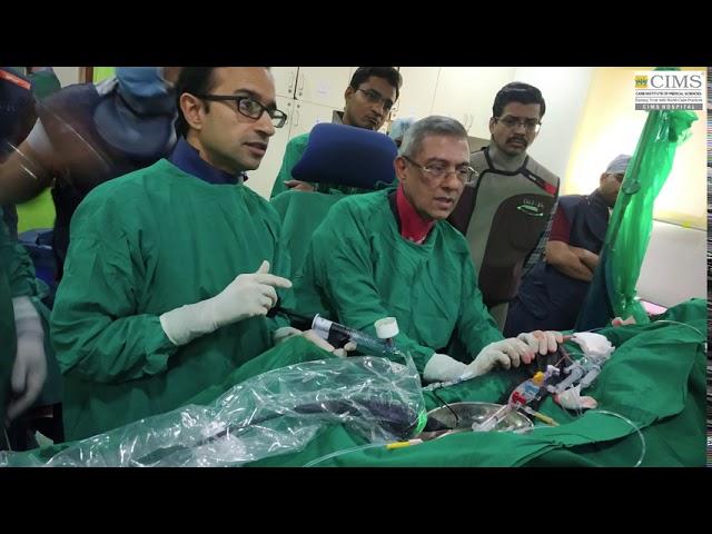 Dr. Keyur Parikh doing lithotripsy angioplasty with stent using OCT.
