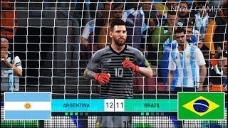 goalkeeper L.MESSI vs goalkeeper NEYMAR JR | Penalty Shootout | Argentina vs Brazil | PES 2018