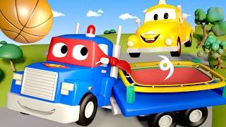 Supernáklaďák Karel ve Městě Aut 🚚 ⍟ Trampolínové auto Karel - Dětské animáky
