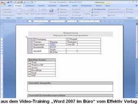word 2007 formular erstellen youtube