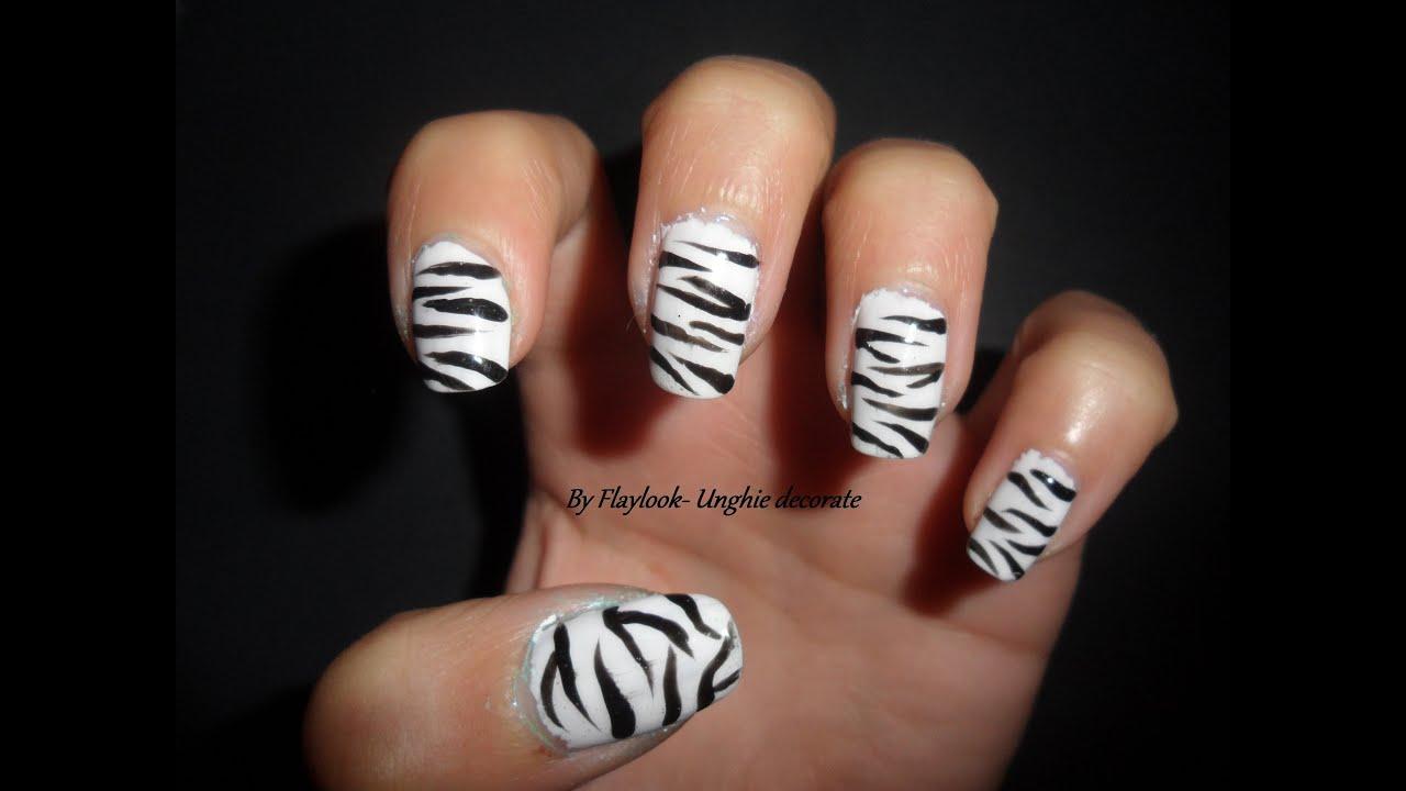 Video tutorial 14 nail art zebrataby Flaylook