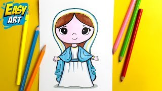 Dibujos KAWAII - Como Dibujar LA VIRGEN MARIA KAWAII │How to draw the Virgin Maria ► Easy Art