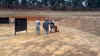 Cadet Freeman shooting the multi gun stage at the 2014 All Army Small Arms competition