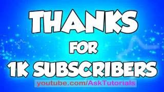 Thank You For Being my First 1000 Subscribers