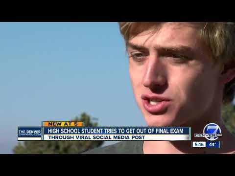 Highlands Ranch high schooler sends viral tweet to get entire class 100s on final exam