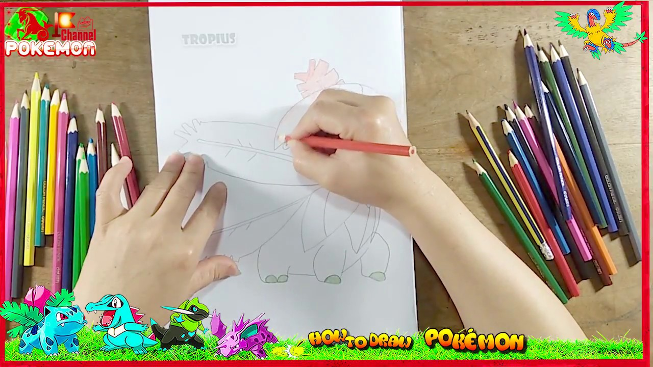 How To Draw Tropius Pokemon Coloring Pages For Baby