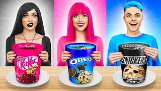 Epic Color Challenge! Pink VS Black VS Blue Food In One Color For 24 Hours by RATATA COOL