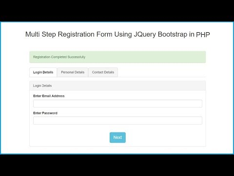 Multi Step Registration Form Using JQuery Bootstrap in PHP - YouTube