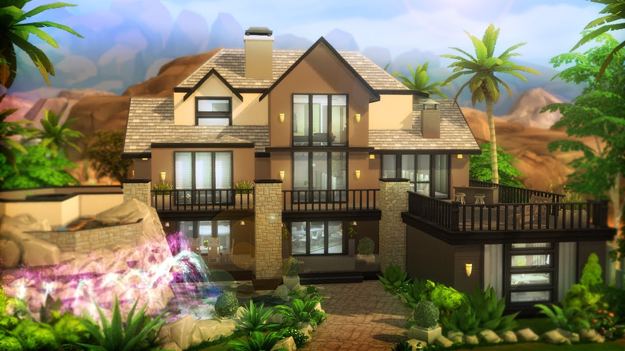 Base Game Party Mansion L Sims 4 House Building Youtube